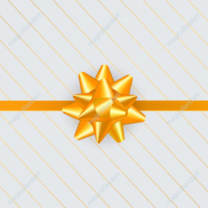 Luxury greeting card design with golden gift bow, ribbon and line pattern. Holiday decoration for New Year, Christmas