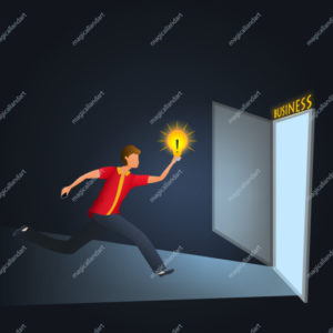 Young man holding lightbulb and running to the door with business sign, search new creative ideas for business startup