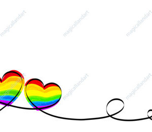 Calligraphy Rainbow Heart Ribbon on White background. LGBT Pride Month. Lesbian, gay, bisexual, transgender love symbols