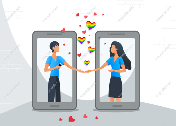 Online dating mobile app, LGBT lesbian couple in virtual relationships using smartphones, chatting on the internet