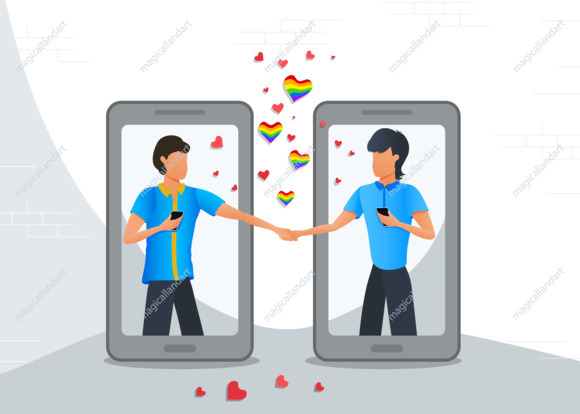 Online dating mobile app, LGBT gay couple in virtual relationships using smartphones, chatting on the internet