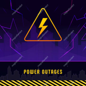 Power outage, banner with lightning on black background of the city without electricity. Warning poster with yellow triangular icon