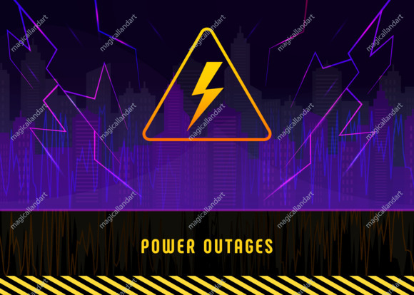 Power outage, warning poster with lightning on black background of the city without electricity. Banner with high voltage yellow triangular