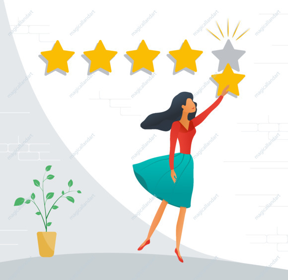 Customer review rating. Positive online feedback, product or service evaluation. Young woman giving five star rating