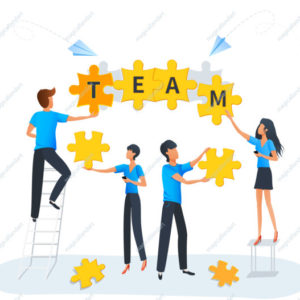 Puzzle teamwork business solution concept. Team at work. Group of people connecting puzzle elements.