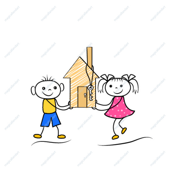 Cartoon stickman figures of boy and girl buying or moving to new house. Vector illustration
