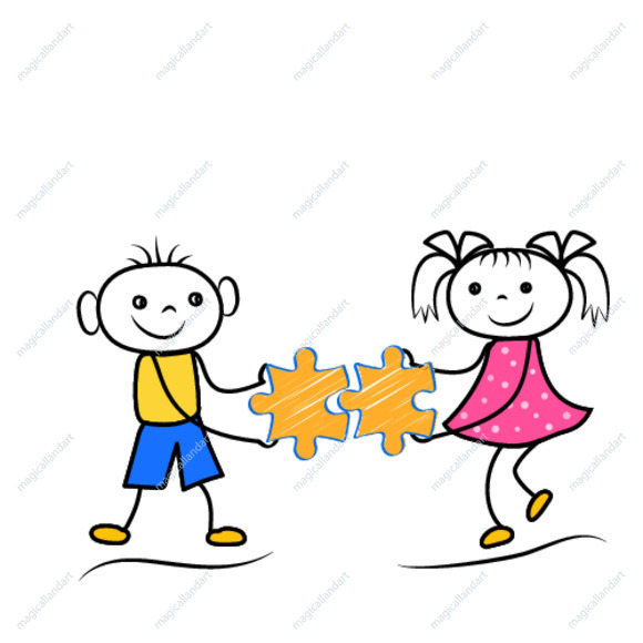Stickman boy and girl holding puzzle icons. Teamwork or problem solving cartoon figures. Vector illustration