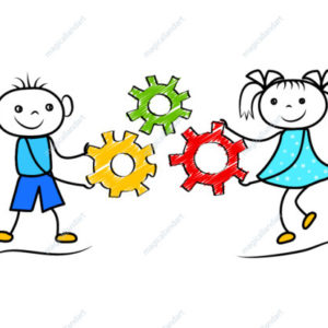 Funny doodle boy and girl holding gears. Cartoon people cooperation for successful task solution. Vector illustration