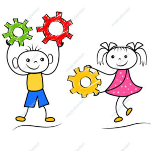 Doodle boy and girl teamwork isolated on white background. Stickman figures engineering. Vector illustration