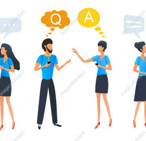 People talking and thinking, group chat communication with colorful dialogue speech bubbles, businessmen discuss social network