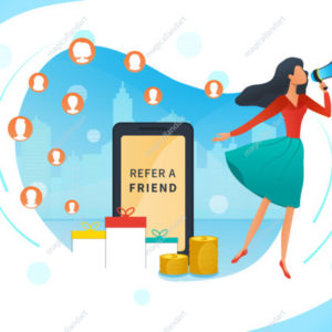 Refer a friend loyalty reward program, referral marketing concept, promotion, young woman shout on megaphone, smartphone
