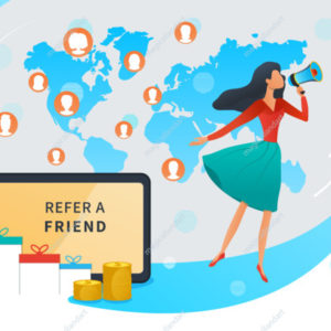 Referral marketing, refer a friend and earn money, loyalty reward program, young woman shout on megaphone, tablet