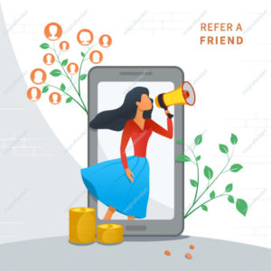 Refer a friend and earn money, customer loyalty reward app program, referral marketing strategy, young woman shout on megaphone