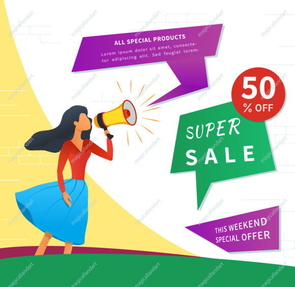 Referral marketing, refer a friend, loyalty reward program, young woman shout on megaphone, sale web banner with 50 percent off discount
