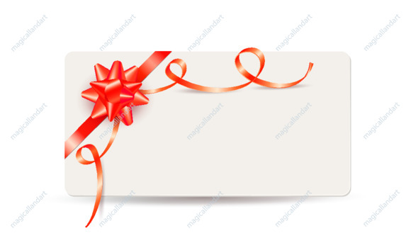 Realistic vector gift card with red bow and ribbon isolated on white background. Template design for valentine's day card