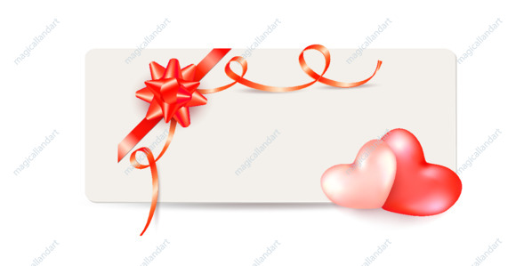 Valentine's day gift card with two hearts, red bow and ribbon isolated on white background