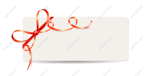Vector illustration of gift card, coupon or certificate with red bow and ribbon. Template design for valentine's day
