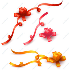 Set of realistic colored gift bows with ribbons isolated on white background. Vector collection of red, pink and gold gift bow