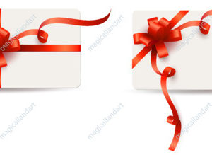 Vector set of gift card, coupon or certificate with red bow and ribbon. Template design for valentine's day, birthday