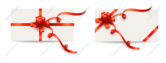 Set of gift cards with red bow and ribbon isolated on white background. Template design for valentine's day card
