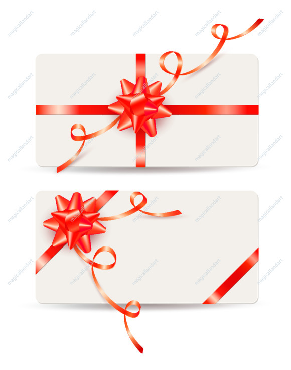 Set of elegant gift cards with red bow and ribbon on white background. Template design for valentine's day card