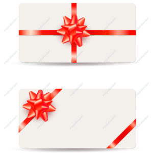 Set of realistic elegant gift cards with red bow and ribbon on white background. Template design for valentine's day card, wedding