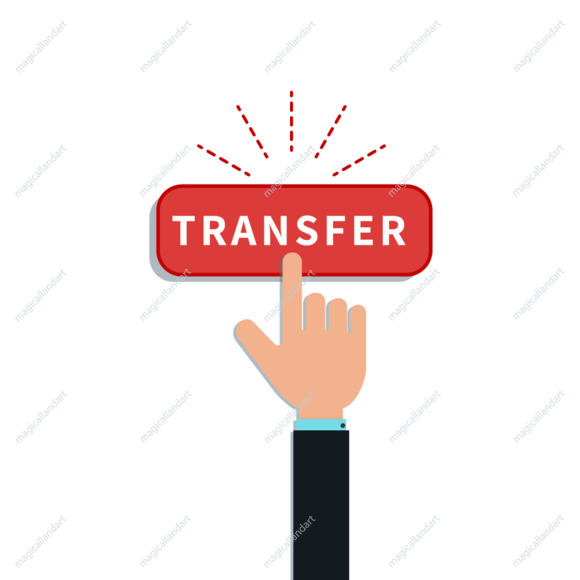 Flat hand finger touch on red transfer button isolated on white background. Design element for mobile app, web banner, online payment
