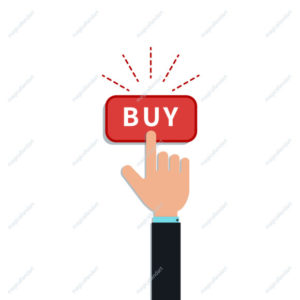 Flat hand finger push on red buy button isolated on white background. Design element for mobile app, web banner, online shopping