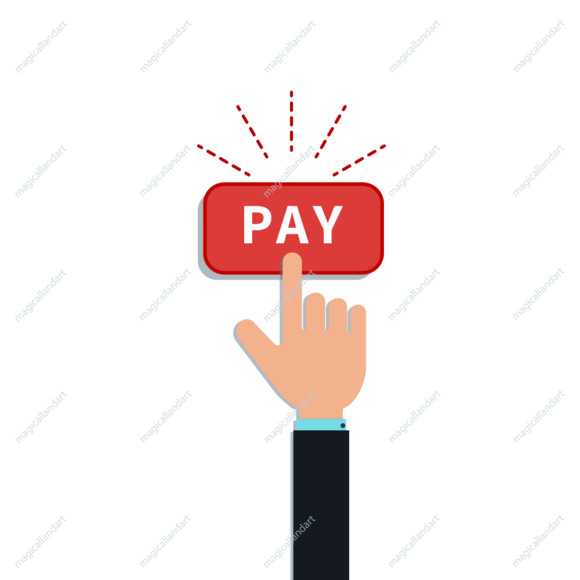 Flat hand forefinger click on red pay button isolated on white background. Design element for mobile payment app