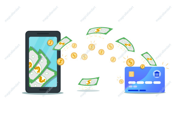 Online payment or money transfer with mobile wallet app and credit card. Flat smartphone with cash on screen. Make or earn dollar money