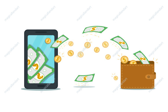 Mobile wallet app or online payment system, savings bank account concept. Flat smartphone with cash flow and coins with dollar sign. Make, earn or receive money. Cash withdrawal