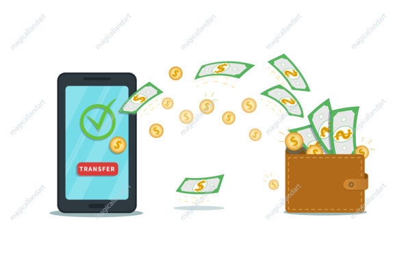 Online payment mobile app with digital wallet. Flat smartphone with check mark and transfer button on screen. Successful bank transaction