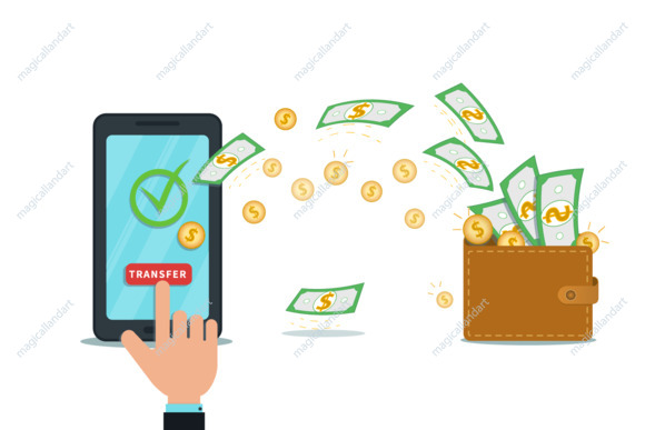 Mobile digital wallet app or online fund transfer, money withdraw concept. Flat smartphone with check mark on screen isolated on white background.