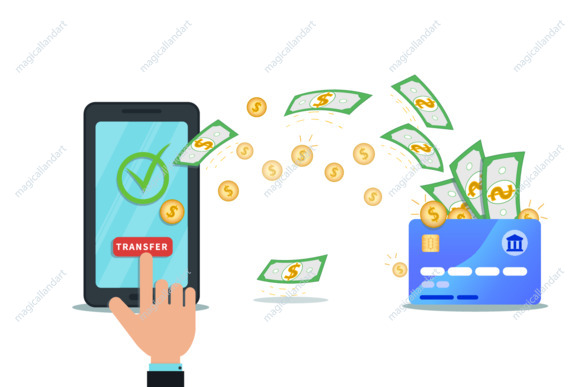 Online payment, money transfer, mobile wallet app concept. Flat smartphone with nfc credit card and check mark. Hand click transfer button. Shop checkout. Cash withdrawal