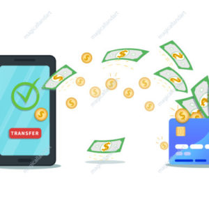 Money transfer app. Flat smartphone with nfc credit card, check mark and transfer button. Successful bank transaction. Virtual wallet. Online payment service