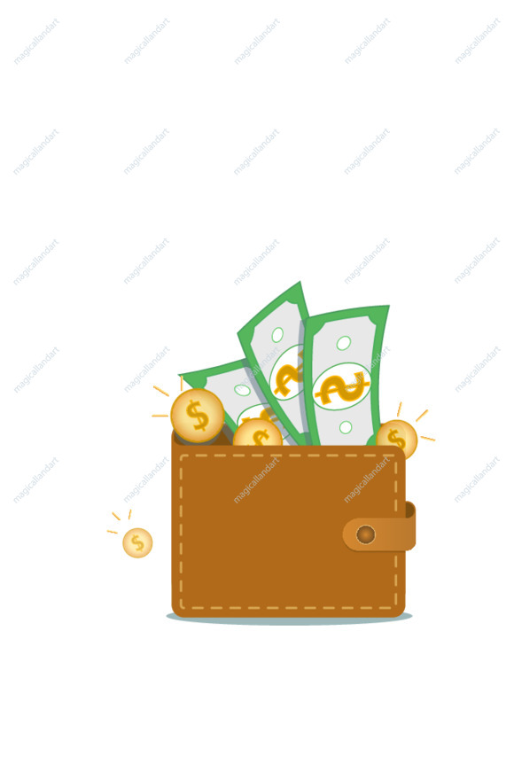 Wallet full of green dollars isolated on white background. Concept of online payment, savings bank account, cashback, digital wallet