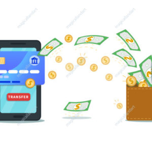 Online money transfer app, banking concept. Flat smartphone with credit card and transfer button. Payment service. Make or earn money