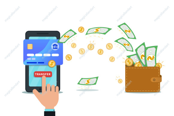 Fast online money transfer design with flat smartphone and hand finger click send button. Mobile wallet. Concept of financial operations