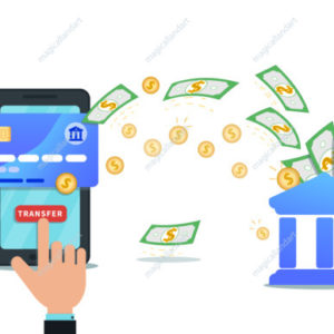 Online payment service, banking or money transfer with mobile app and nfc credit card concept. Hand finger click send button on smartphone screen. Concept of investment