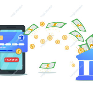 Send money online using bank account and mobile wallet app. Flat design of smartphone with credit card, transfer button on screen and cash flow