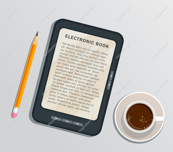 Reading ebook on digital tablet isolated on white background with pencil and cup of coffee. E-book reader concept. Flat design element
