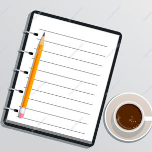 Blank realistic spiral notebook with pencil and cup of coffee isolated on white background. Notepad on desk. Design element