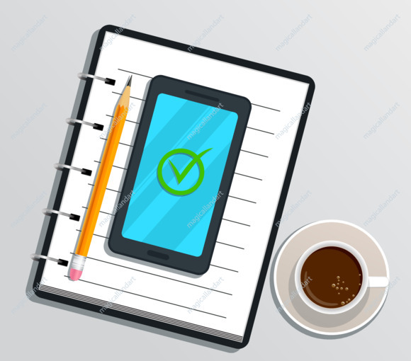 Blank realistic notebook or notepad with smartphone and check mark on screen, pencil, cup of coffee on white background. Flat design for education