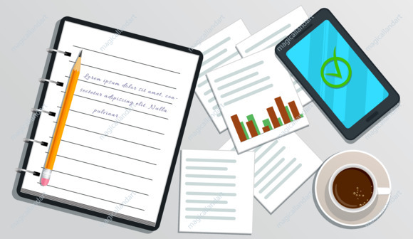 Accounting, financial audit, business planning concept. Market research. Realistic notebook with text, smartphone with check mark on screen, pencil