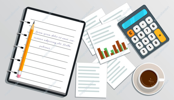 Financial audit, accounting. Business planning. Tax report, project management, accounting service, data analysis. Table with realistic notebook with text, calculator