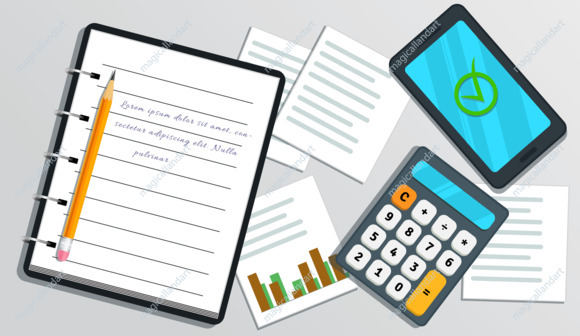 Accounting, financial audit concept. Project, risk management. Tax report. Flat smartphone with check mark on screen. Table with realistic notebook with text