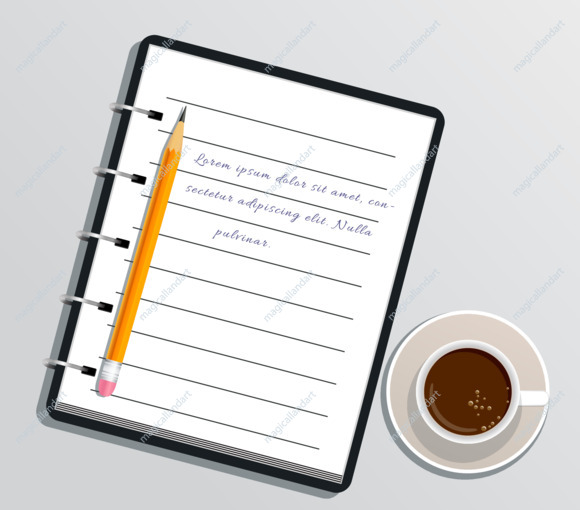 Realistic notepad notebook with text, pencil and cup of coffee isolated on white table. Diary for business. Office stationery items. Flat design for school, education and paperwork