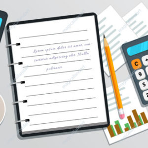 Accounting or bookkeeping. Business planning. Project management. Market research. Flat smartphone with check mark on screen. Table with notebook with text, calculator, cup of coffee, pencil,  chart