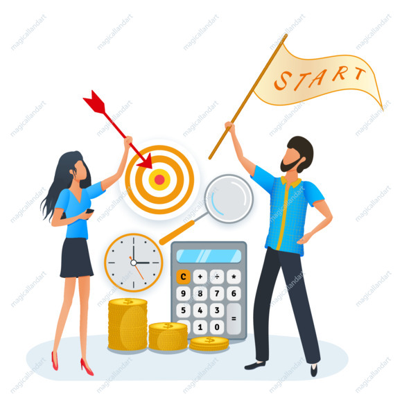 Startup goals growth plan business partnership, success SEO strategy, financial return on investment, people start up project planning and management. Clip art