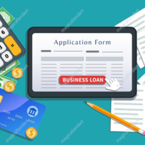 Small business loan online agreement. Home mortgage. Flat tablet or smartphone with application form, cursor click button on desk with cash, calculator, credit card